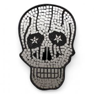 Mirror~ Gothic Hippy Bohemian Silver Mosaic Hand Made Skull Mirror~ By Folio Gothic Hippy